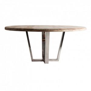Masa dining maro/argintie din lemn si inox 176 cm Skei Vical Home