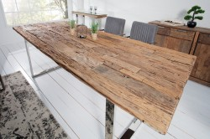 Masa dining maro/argintie din lemn si metal 100x180 cm Euphoria Barracuda Invicta Interior