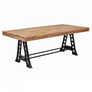 Masa dining maro/neagra din lemn de mango si metal 100x200 cm Industrial Invicta Interior