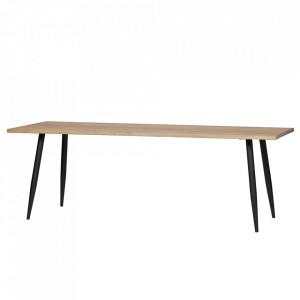 Masa dining maro/neagra din lemn de stejar si otel 80x190 cm Panel Woood