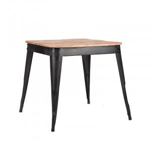 Masa dining maro/neagra din lemn si metal 75x75 cm Liege LABEL51