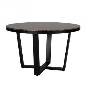 Masa dining maro/neagra din marmura si fier 130 cm Dalton Richmond Interiors