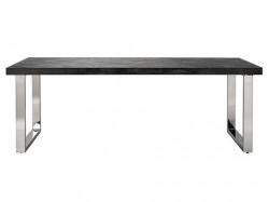 Masa dining neagra/argintie din lemn si inox 100x220 cm Blackbone Silver Richmond Interiors