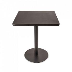 Masa dining neagra din MDF si polirasina 75x75 cm Shiny Plain Black Pols Potten