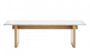 Masa maro/alba din lemn si marmura 38,5x130 cm Solid Normann Copenhagen