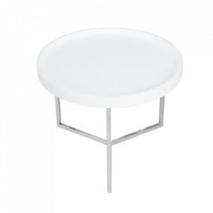 Masuta alba/argintie din lemn si metal pentru cafea 60 cm Modular Invicta Interior