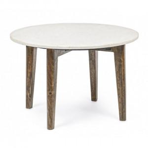 Masuta alba/maro din marmura si lemn pentru cafea 60 cm Sylvester Bizzotto