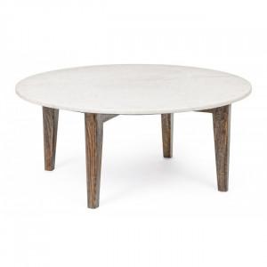 Masuta alba/maro din marmura si lemn pentru cafea 75 cm Sylvester Bizzotto