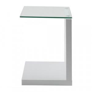 Masuta alba/transparenta din sticla si MDF 35x40 cm Tupit Actona Company