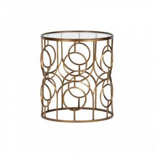 Masuta aurie din metal si sticla pentru cafea 40 cm Naomi Woood