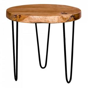 Masuta cafea maro din lemn de tec 55 cm Ferrol House Nordic