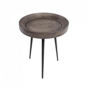 Masuta gri din lemn de salcam si metal 45 cm Pure Nature Invicta Interior