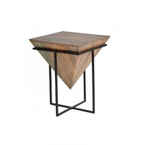 Masuta maro/neagra din lemn de mango si metal 50x50 cm Geometry Giner y Colomer