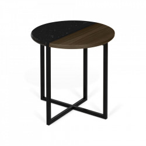 Masuta maro/neagra din lemn si marmura 50 cm Sonata TemaHome