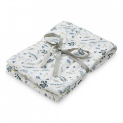 Muselina multicolora din bumbac Swaddle Pressed Leaves Blue Cam Cam