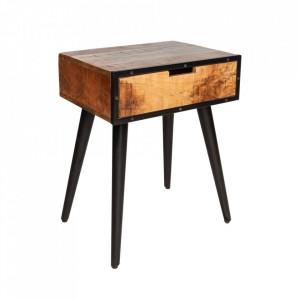 Noptiera maro/neagra din lemn de mango si metal Industrial Invicta Interior