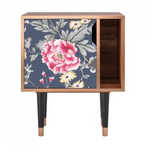 Noptiera multicolora din MDF si lemn Dark Flower Bed Furny