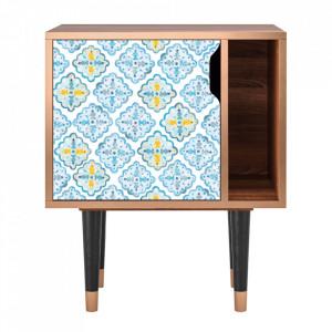 Noptiera multicolora din MDF si lemn Portugese Tiles Furny