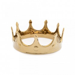 Obiect decorativ auriu din portelan My Crown Seletti