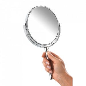 Oglinda cosmetica de mana rotunda argintie din metal 16x28 cm Elegance Attach Wenko
