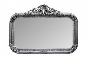 Oglinda dreptunghiulara argintie cu rama din lemn 142x100 cm Baroque Versmissen