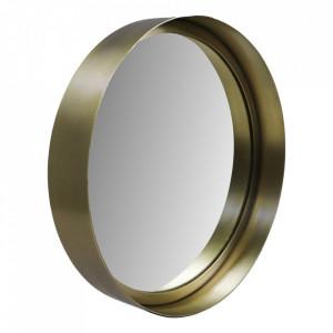 Oglinda rotunda aurie din aluminiu si fier 30 cm Fletcher HSM Collection