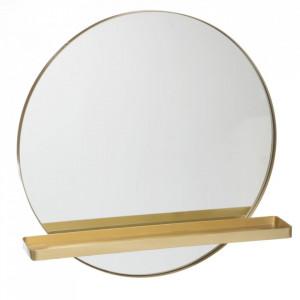 Oglinda rotunda aurie din fier cu raft 60 cm Kevin Ixia