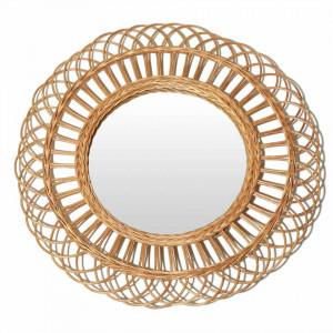 Oglinda rotunda crem din ratan 55 cm Flower Zago