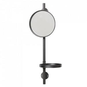 Oglinda rotunda cu raft din fier 20x22 cm Makurdi Ixia