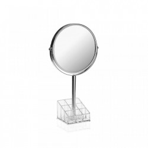 Oglinda rotunda de masa argintie din metal 18,9x33,8 cm Mirror Support Versa Home