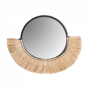 Oglinda rotunda din fibre naturale si fier 60x65 cm Mitchell Natual Vical Home
