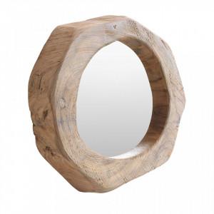 Oglinda rotunda din lemn de tec si sticla 30 cm Rough Raw Materials