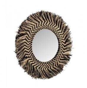 Oglinda rotunda maro/neagra din fibre naturale si sticla 60 cm Takashhi La Forma