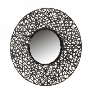 Oglinda rotunda neagra din ratan 55 cm Tracy Unimasa