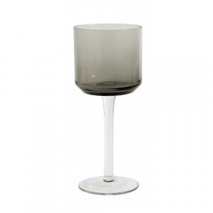 Pahar gri fum din sticla pentru vin 8x19 cm Retro Nordal