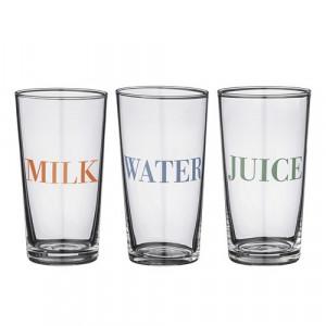 "Pahar mic din sticla transparenta cu mesaj ""Water"" Bloomingville"