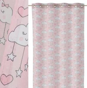 Perdea roz din poliester 140x260 cm Nubita Cloud Star Unimasa