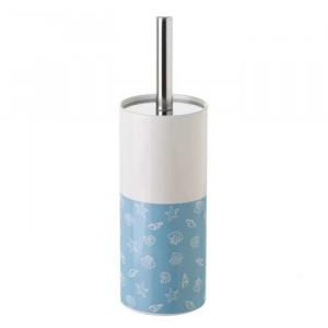 Perie toaleta albastra/alba din ceramica Shells Unimasa