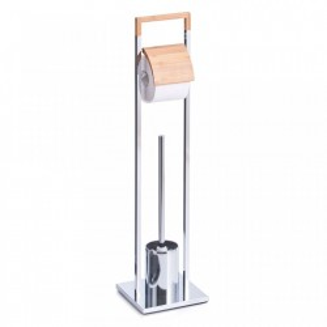 Perie toaleta cu suport hartie igienica din metal si lemn Bamboo Chromed Zeller