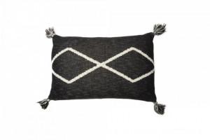 Perna decorativa dreptunghiulara negru/crem din bumbac 30x48 cm Oasis Black Lorena Canals