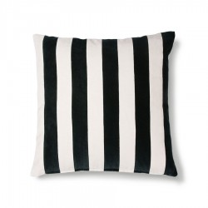 Perna decorativa patrata neagra/alba din catifea si bumbac 50x50 cm Leonardo HK Living