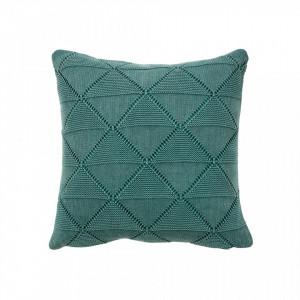Perna decorativa patrata verde din bumbac 45x45 cm Boris Ocean Woood