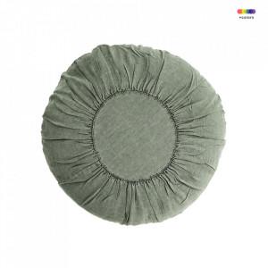 Perna decorativa rotunda verde din in si fibre 60 cm Round Cushion Jade Madam Stoltz