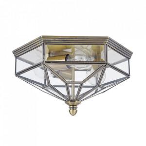 Plafoniera maro bronz/transparenta din metal si sticla cu 3 becuri Zeil Maytoni