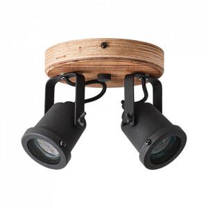 Plafoniera maro inchis/neagra din lemn si metal cu 2 becuri Inge Round Brilliant