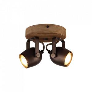 Plafoniera maro/neagra din lemn si metal cu 2 becuri Tool Brilliant