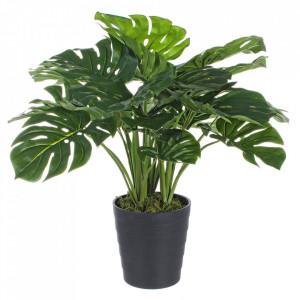 Planta artificiala verde din plastic si ciment 65 cm Philodendron Bizzotto