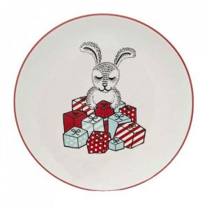 Platou alb din ceramica 20 cm Twinkle Round Bloomingville