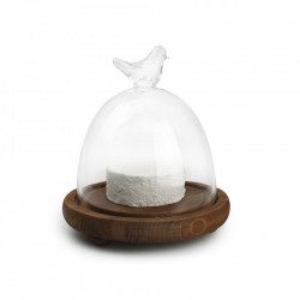 Platou maro/transparent cu capac din lemn de fag si sticla 21,5 cm Blanco Aerts
