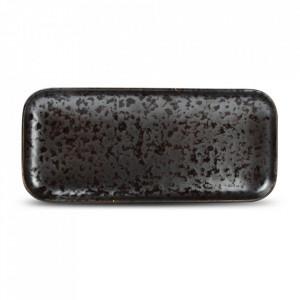 Platou negru din portelan 10x22 cm Oxido Fine2Dine